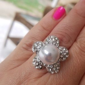 ❇️2FOR$15❇️Silver Pearl Rhinestone Fashion Ring
